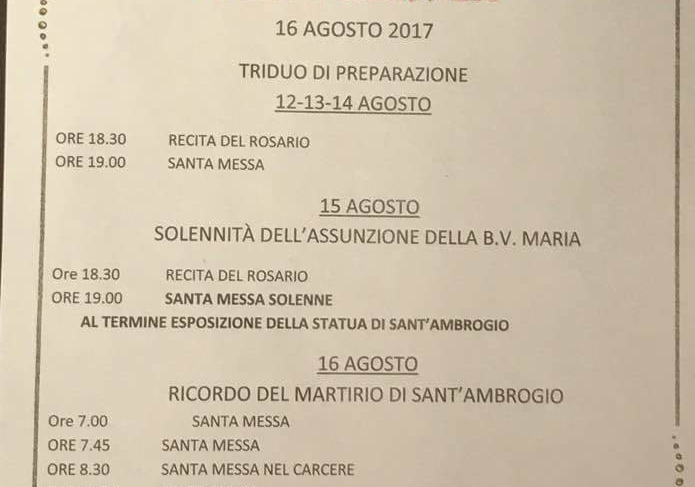 Iniziato il triduo di preparazione ai festeggiamenti in ricordo del Martirio di Sant'Ambrogio Martire