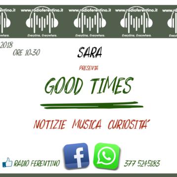 """GOOD TIMES"" Nuovo appuntamento On Air"